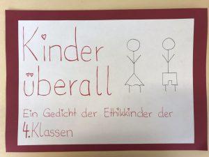 Kinder überall Ein Gedicht Der Ethik Kinder Der 4 Klassen